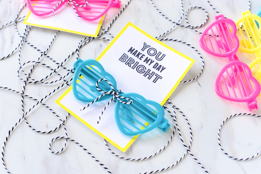 Non-candy Valentine ideas for kids with free printables: Printable glasses card free from Hello Splendid