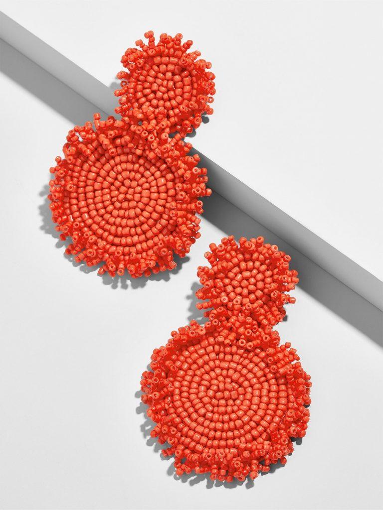 Pantone Coral earrings: Rianne Beaded Drop Earrings in Coral