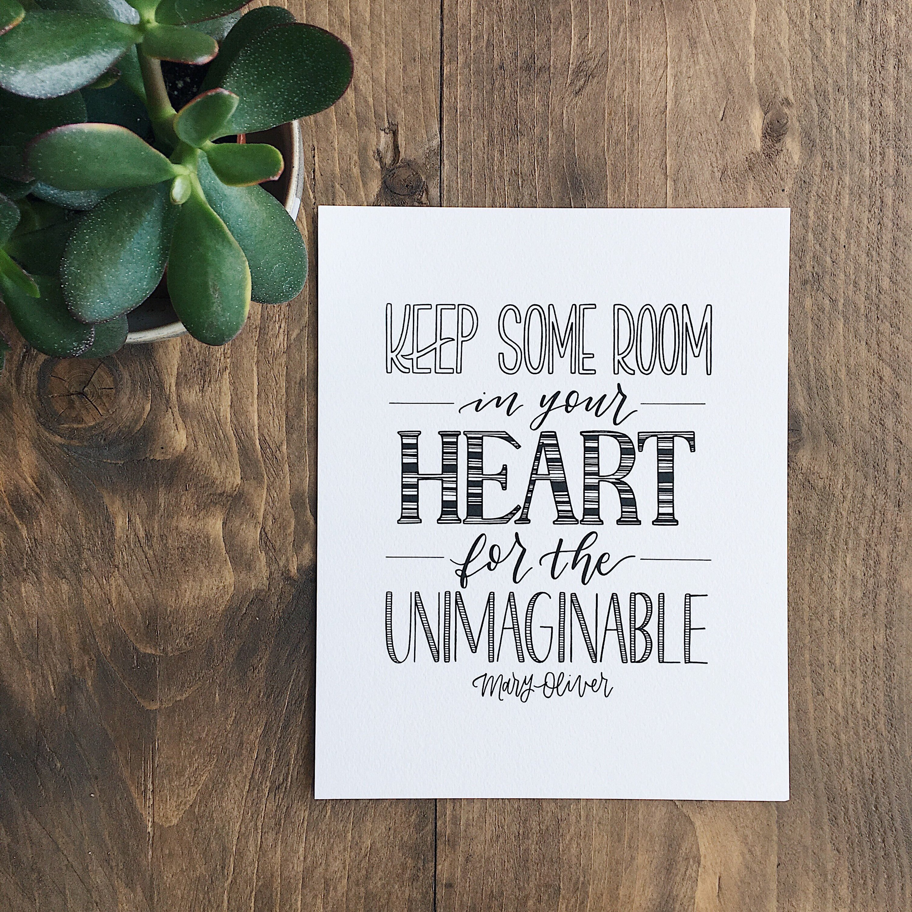 Mary Oliver inspirational art prints: Unimaginable print from Type by Alice