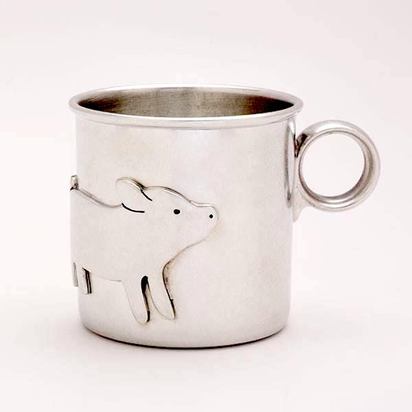 Year of the Pig baby gifts: Baby Pig Pewter Keepsake Cup