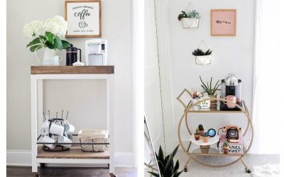 5 ideas for cool coffee bar carts for your home, whatever your decorating style. Barista not included.