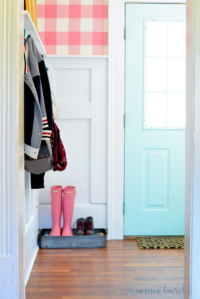 How to use fabric as wallpaper: Punching up a mudroom at Avenue Laurel