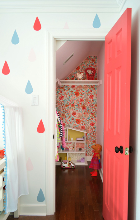 How to hang fabric as wallpaper: Brightening up a small closet and play area at Young House Love