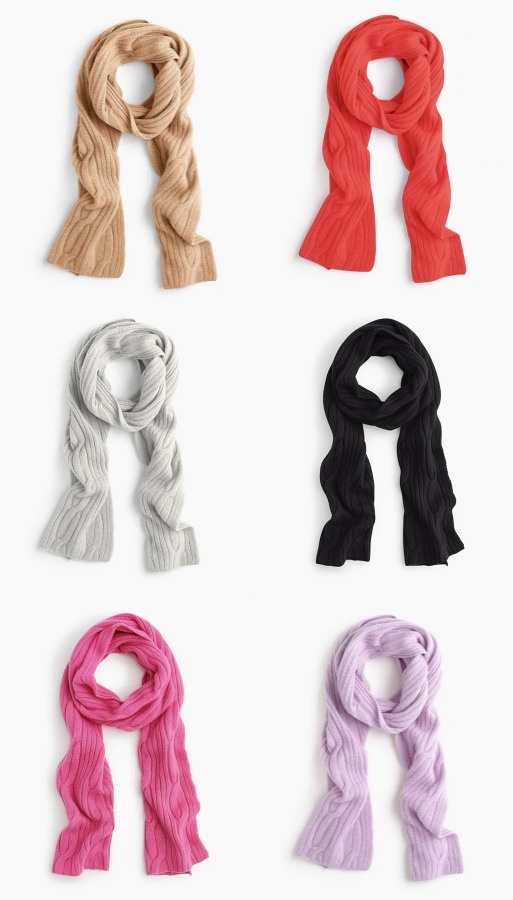The perfect cashmere scarf: JCrew's ribbed cable knit scarf, now on sale