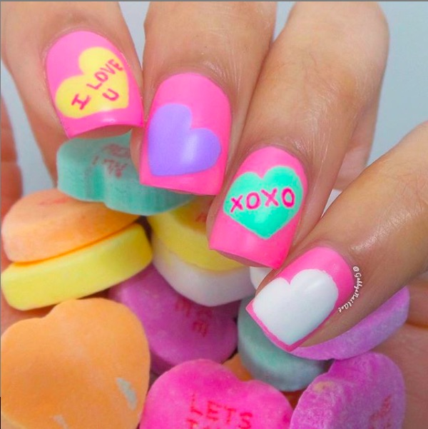 Fun Valentine's Day nails: Conversation heart nails at Gabby's Nail Art | | #valentinesnails