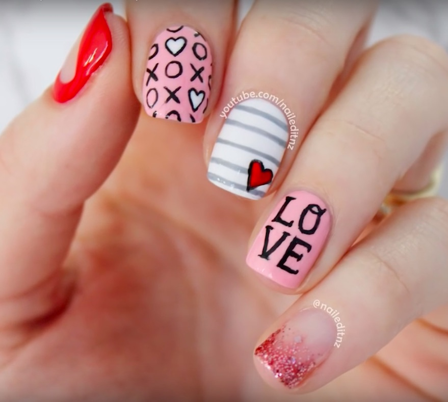 Fun Valentine's Day nails for kids: 5 different styles at Nailed It NZ | | #valentinesnails