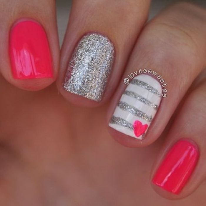 Fun Valentine's Day nails: Pink and silver Valentine's nail art at Love's Sweet As | | #valentinesnails