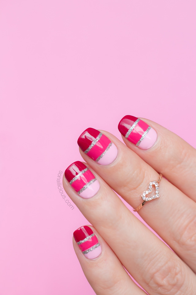 Valentine's Day nail ides: Pink striped glitter nails from So Nailicious | #valentinesnails