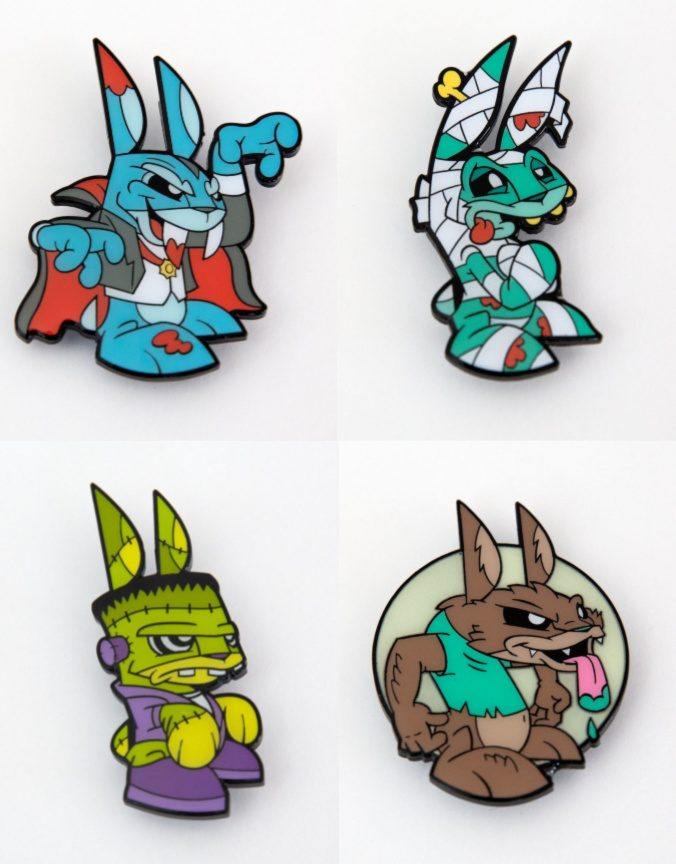 Cool Easter ideas under $20 for kids: John Ledbedder's awesome monster bunny pins on Etsy