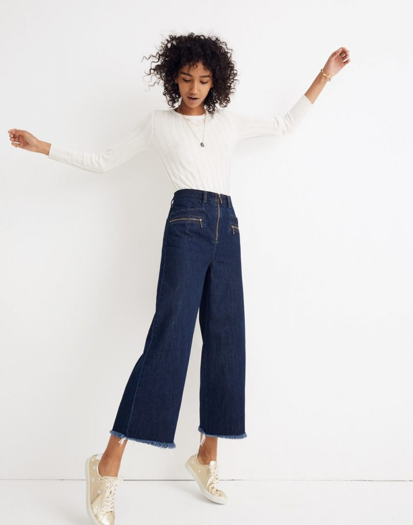 58fabe65ac Spring 2019 fashion trends: Wide leg jeans like these cute zip-front  Madewell x