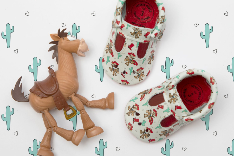 A peek at the irresistible baby moccasins from Toy Story x Freshly Picked