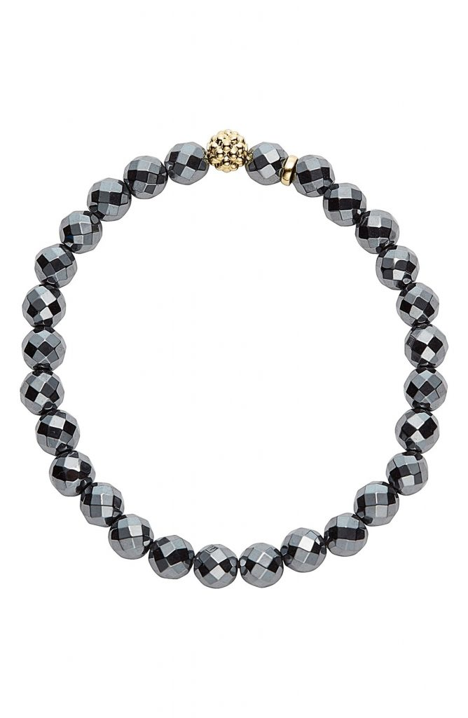 Self-care gifts for moms: Hematite and Gold Beaded Bracelet by Caviar Iconat Nordstrom