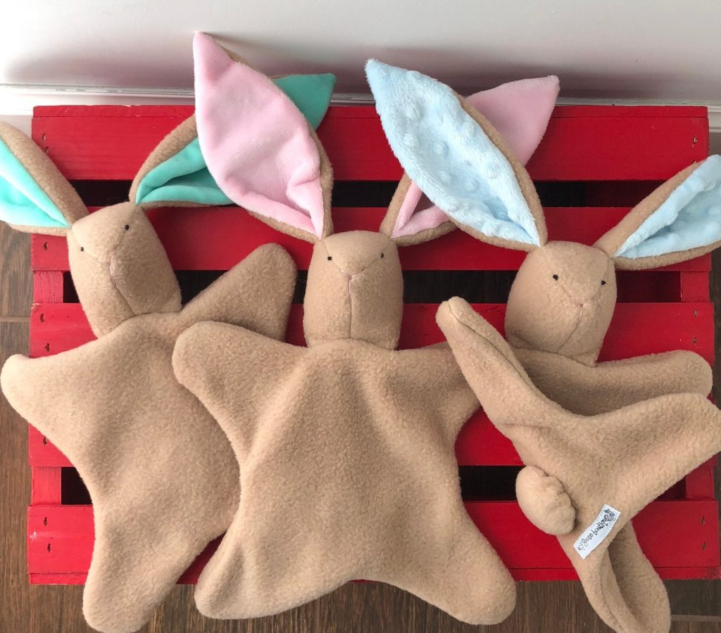 Cute Easter gifts for babies: Handmade soft bunny lovey from Lucy Goose Boutique on Etsy