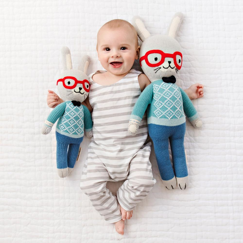 Cute Easter gifts for baby: Hand-knit rabbit dolls from Cuddle & Kind each help feed 10 hungry children