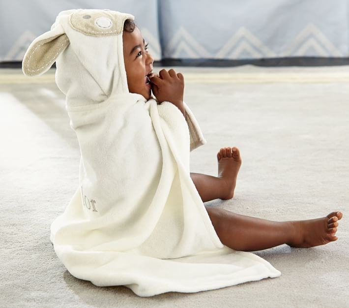 Cute Easter gifts for baby: Hooded lamb, bunny, or chick towel at PBK