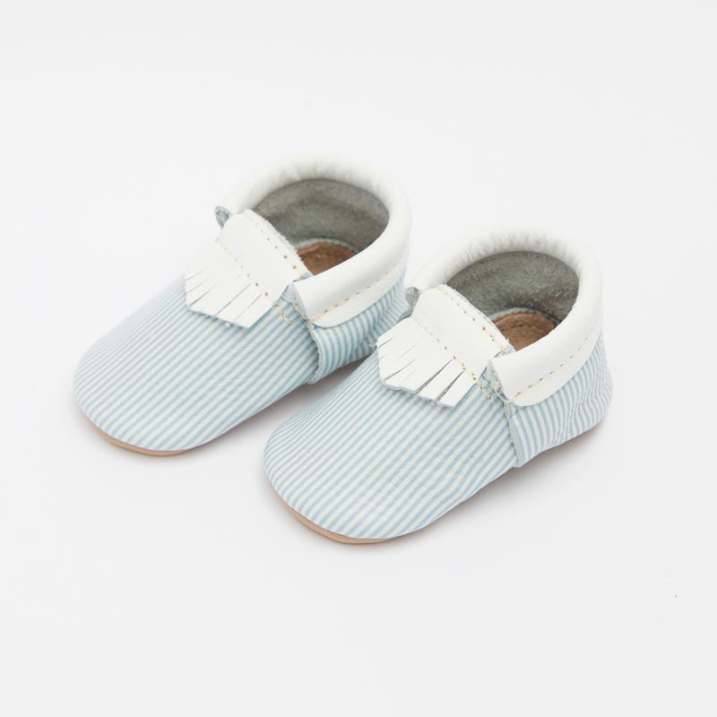 Easter gifts for baby: Sweet pinstripe baby mocs from Freshly Picked