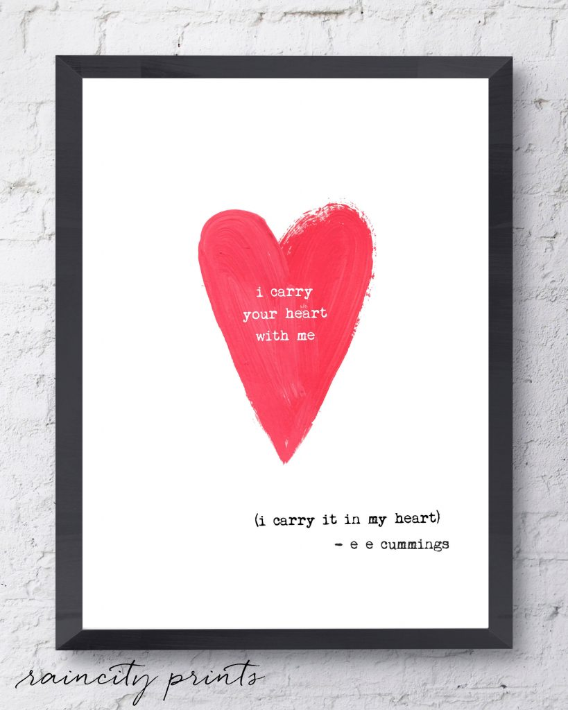 Special Mother's Day gifts under $20: I Carry Your Heart With Me e.e. cummings Wall Print from Raincity Prints