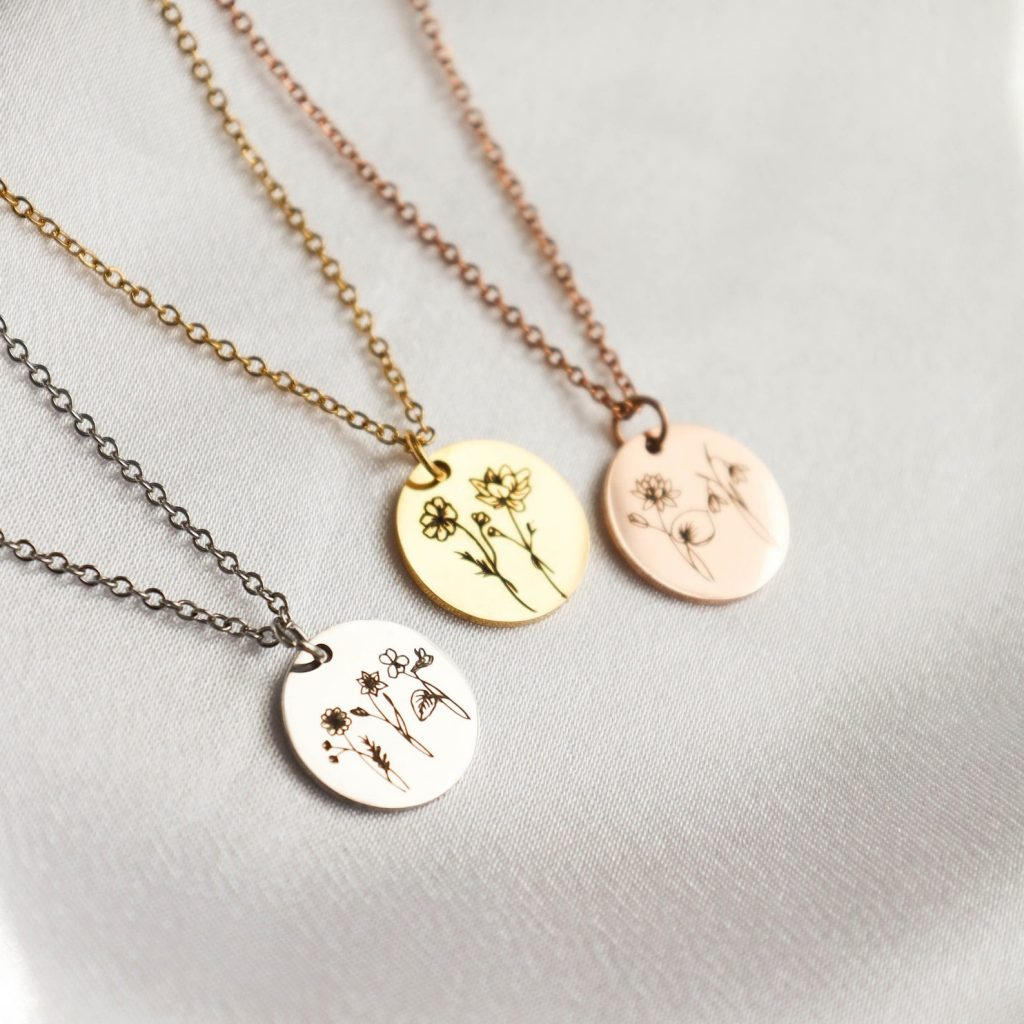 Mother's Day gifts under $25: Custom birth month flower necklaces at Life Prints