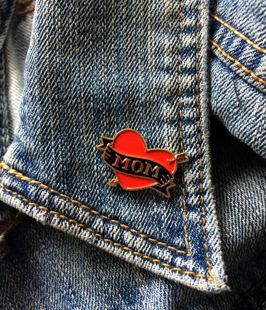 Mother's Day gifts under $20: Mom tattoo enamel pin from Fishcake Design on Etsy | Mother's Day Gift Guide