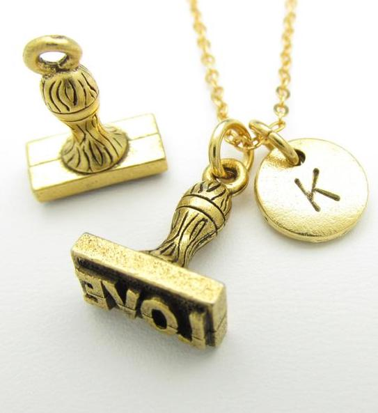 Special Mother's Day gifts under $20: Personalized love stamp necklace from Cranberry St NY on Etys