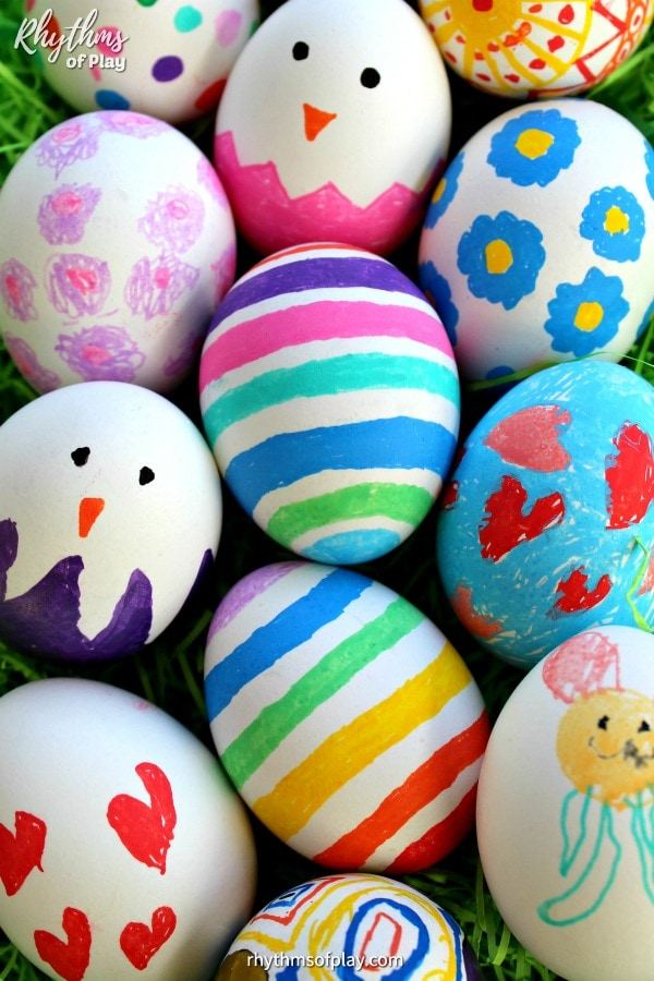 Easter egg techniques for toddlers: Paint pen Easter eggs at Rhythms of Play