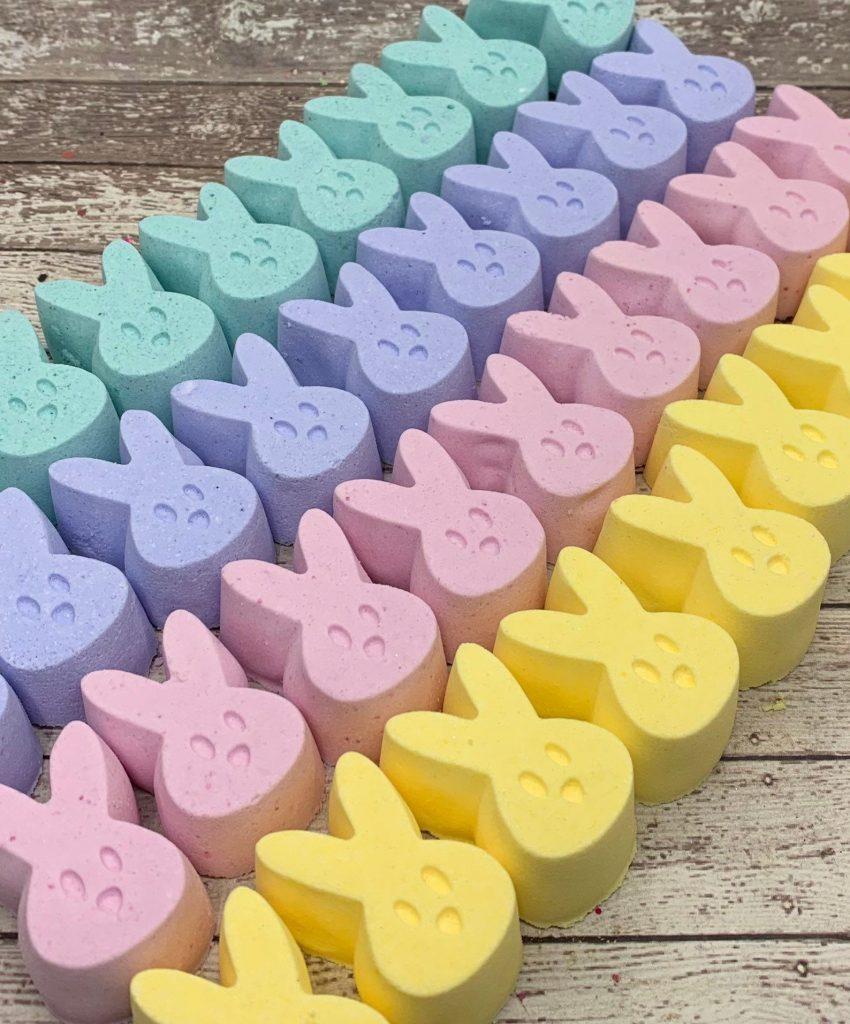 Cool Easter basket ideas under $20 for kids: Handmade Peeps Bunny Bath Bomb Set
