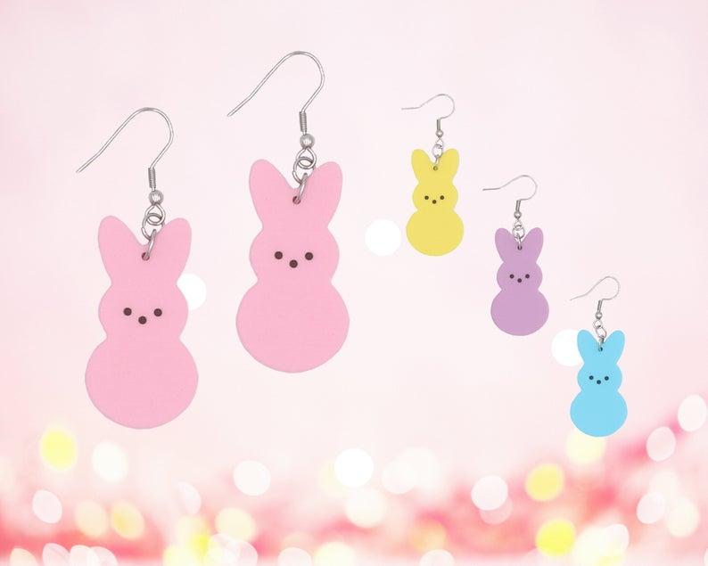 Peeps bunny earrings; Cute easter gifts for kids under $20