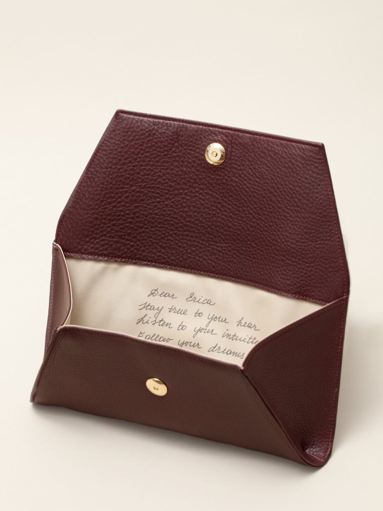 Personalized envelope clutch or handbag printed with your own note inside from Fontem: Perfect for Mother's Day!