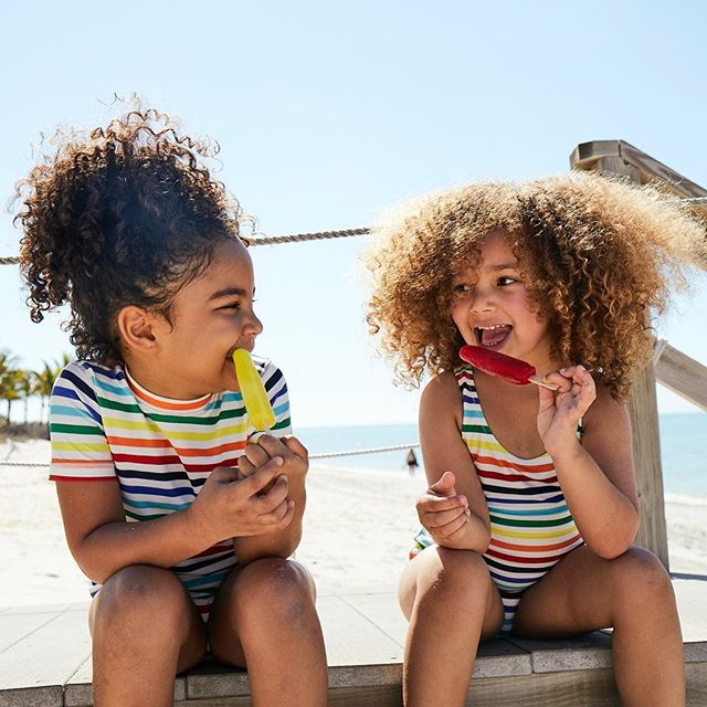 Primary swimwear for kids made from durable UPF50 fabrics, and they mix and match with everything!