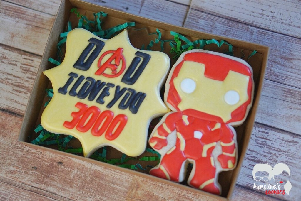 Cool Father's Day gifts under $15: Iron Man / Love you 3000 cookies on Etsy