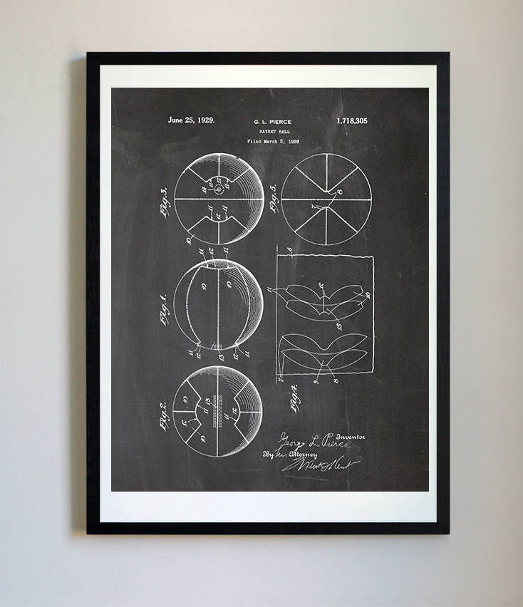 Cool Father's Day gifts under $15: Basketball print from the original 1929 patent design
