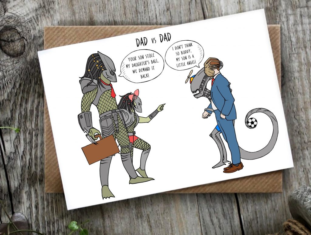 Funny Father's Day card: Dueling alien dads