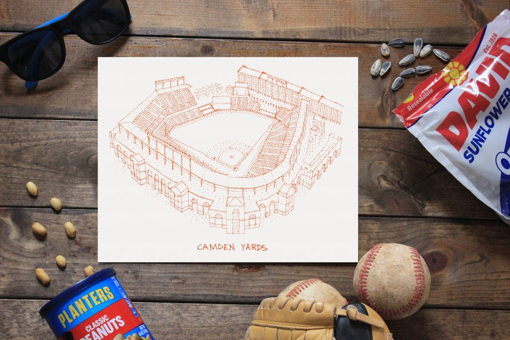 Great high school graduation gift ideas: Artwork to remind them of their favorite home team | Camden Yards print by Designs by Patterson on Etsy