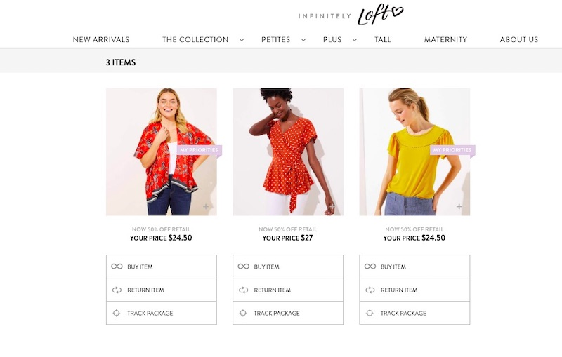 Infinitely LOFT subscription clothing service: Returning your items is easy, and you can choose to buy if you like them!