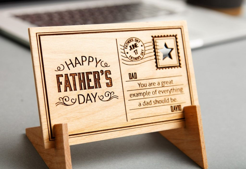 Cool Father's Day gifts under $15: Personalized wooden postcard art