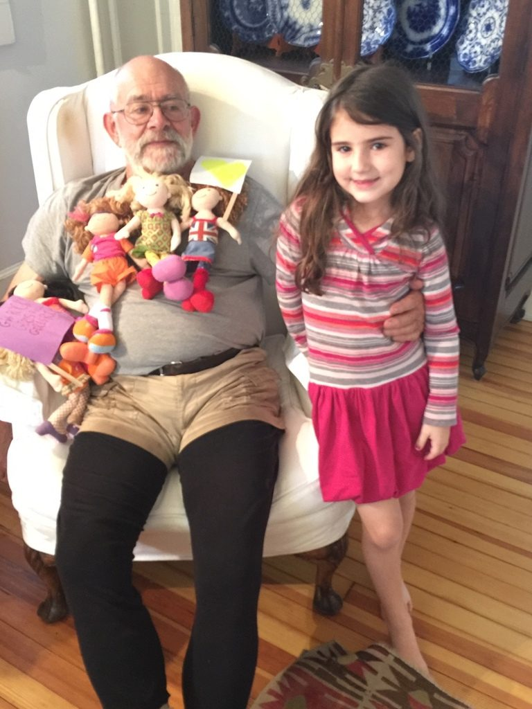 7 proven benefits of playing with dolls | Sage and her papa play with baby dolls | © Liz Gumbinner for Cool Mom Picks