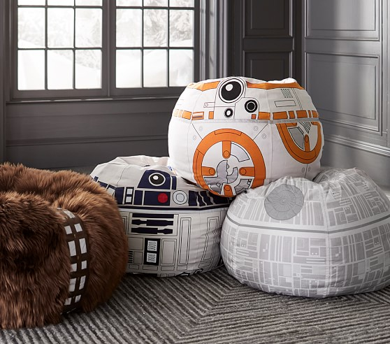Star Wars sale at PBK: Star Wars beanbags featuring BB-8, R2D2, the Death Star, and Chewbacca
