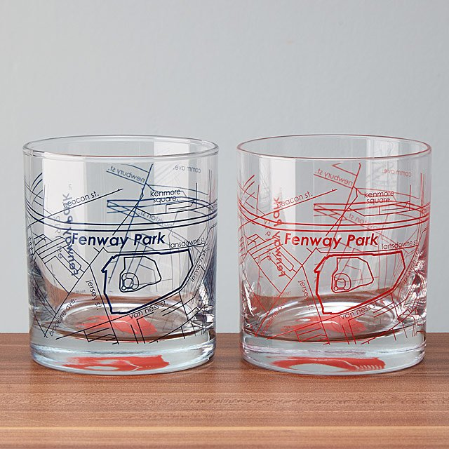 Unique gifts for dads who have everything: Baseball park map glasses featuring 27 different parks