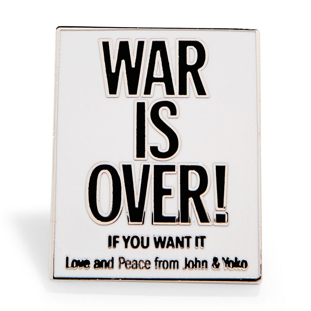 Cool Father's Day gifts under $15: John Lennon/Yoko WAR IS OVER! enamel pin at MoMA Store