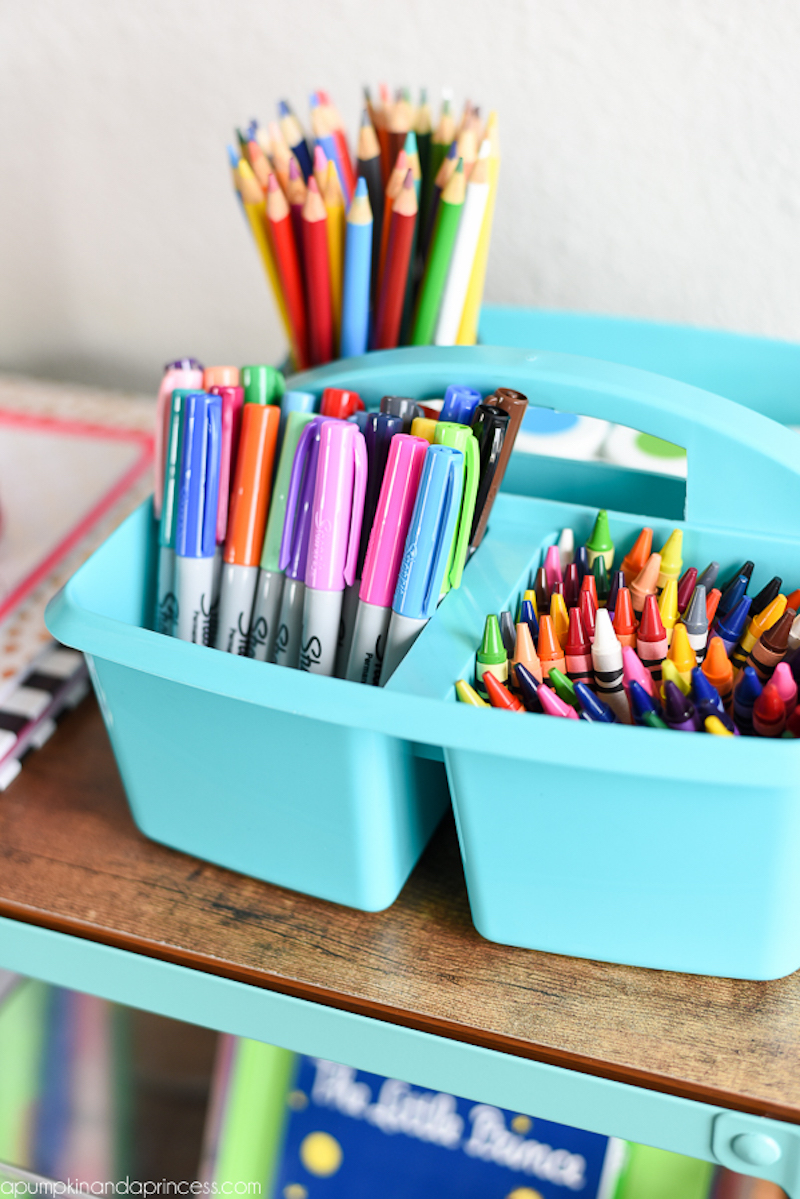 School supply organization tips: Store school supplies in a shower caddy | A Pumpkin and a Princess