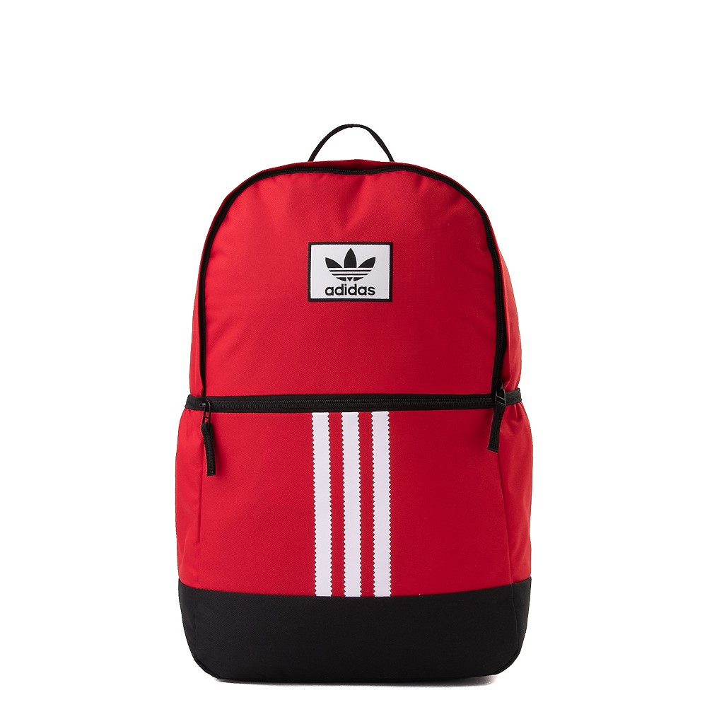 Cool backpacks for teens: Adidas classic trefoil backpack in pink, black, or this bold red