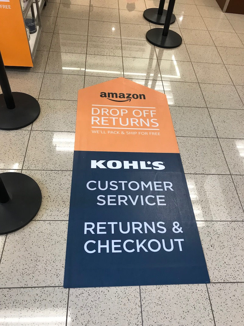 Making Amazon returns at Kohl's: Just follow the signage inside the main door