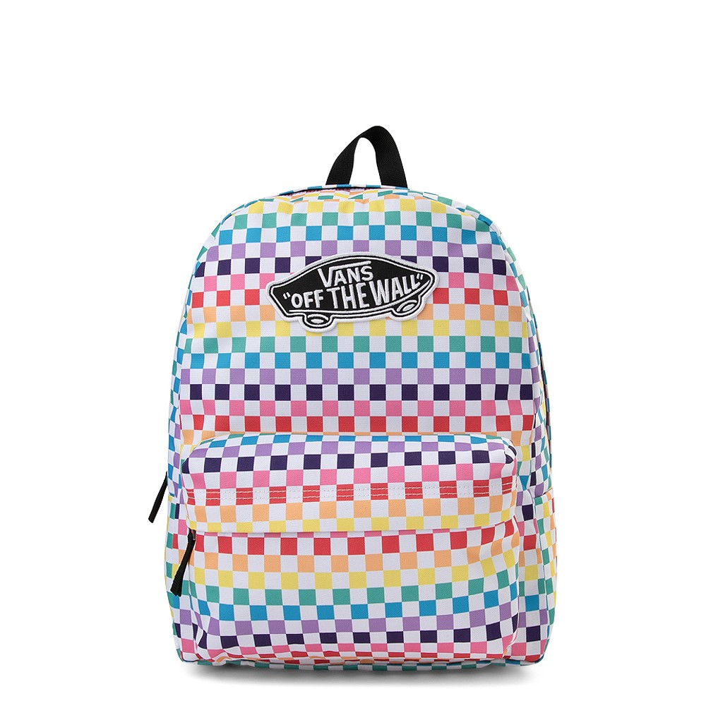 """Cool backpacks for teens: A rainbow checkerboard """"Off the Wall"""" bag by Vans"""