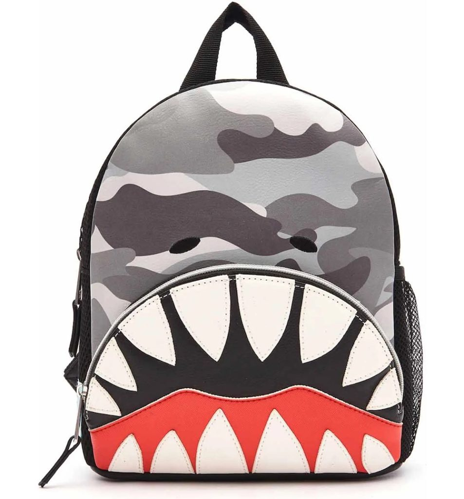 Camo shark backpack: One of the coolest backpacks for toddlers or kindergarten this year