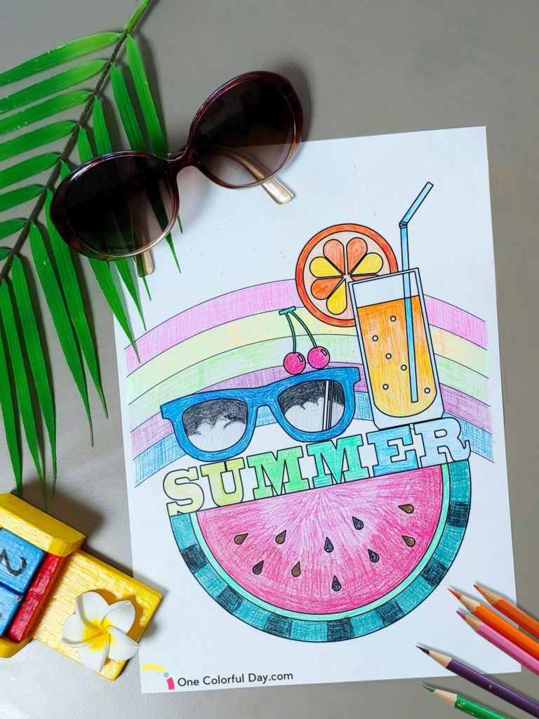 25 Beautifully Illustarted Free Summer Coloring Pages For Kids