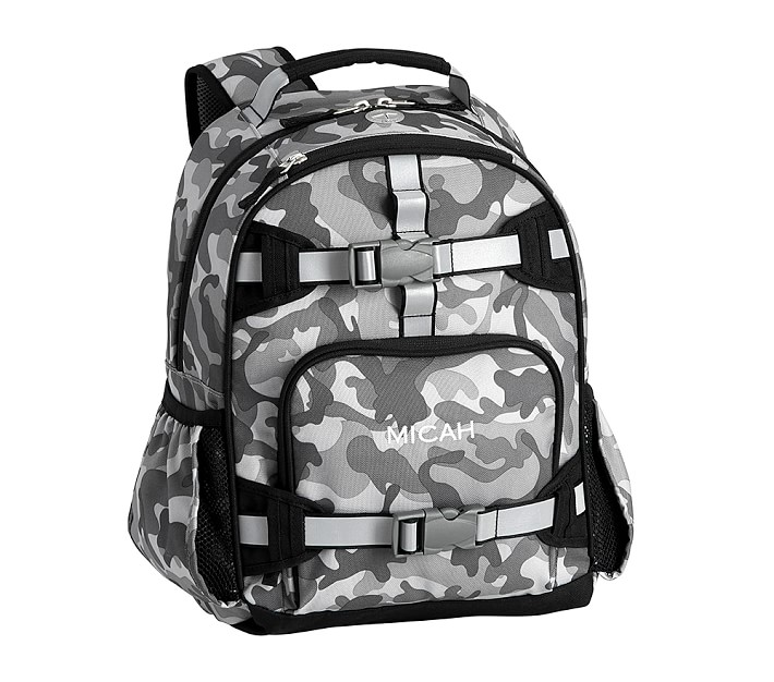 Cool backpacks for preschool and kindergarten: Gray camo monogrammed backpack from Pottery Barn Kids
