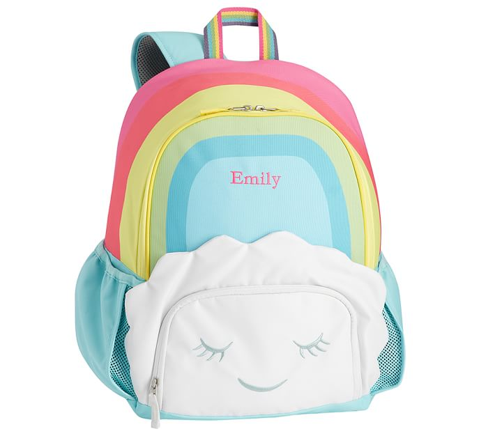 Coolest backpacks for preschool + Kindergarten: Personalized rainbow cloud backpack from PBK | Back to School 2019 Cool Mom Picks