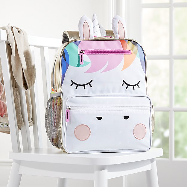 Coolest backpacks for preschool + Kindergarten: Rainbow Unicorn Backpack from Crate Kids | Back to School 2019 Cool Mom Picks