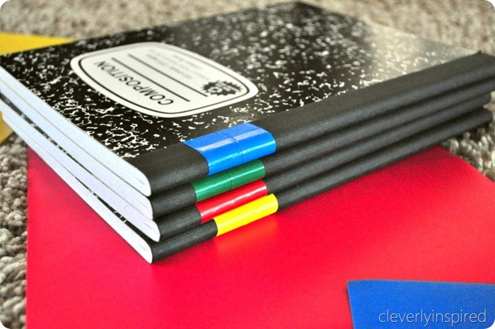 School supply organization: Use duck tape to identify notebooks at Cleverly Inspired