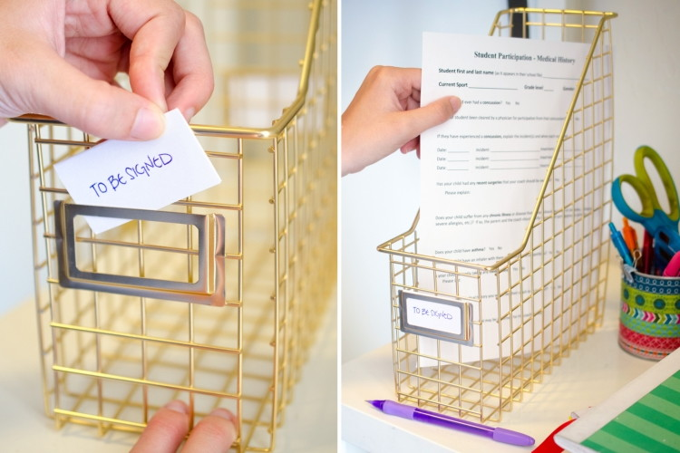 School supply organization: Set up a space for papers that need to be signed | The Krazy Coupon Lady